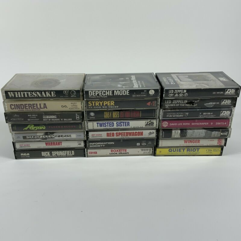 huge lot x21 rock & heavy metal music cassette tapes led zepplin poison AS IS