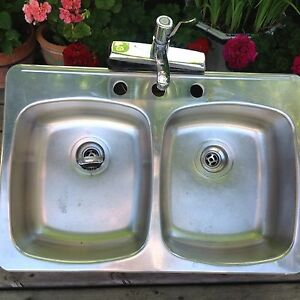 double stainless steel sink with tap and fittings