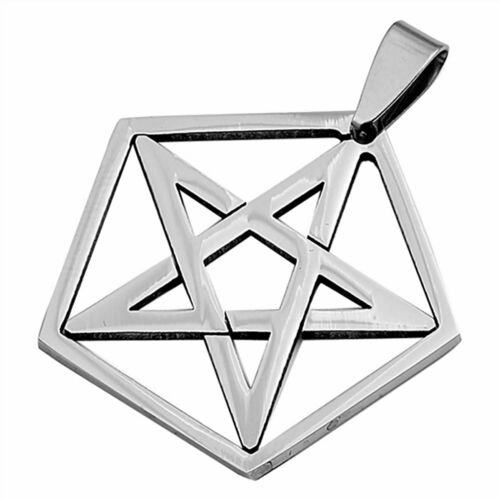 Wicca Pentacle Necklace Stainless Steel Pagan Star Pendant Mens Womens Jewelry
