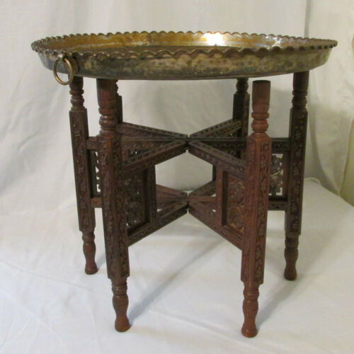 Vintage Turkish Middle Eastern Brass Plated Tin Tray with Carved Wood Base Table