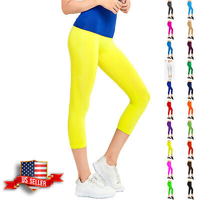 Womens Capri Leggings Pants Yoga Cropped Seamless Women Solid Basic Stretch  ()