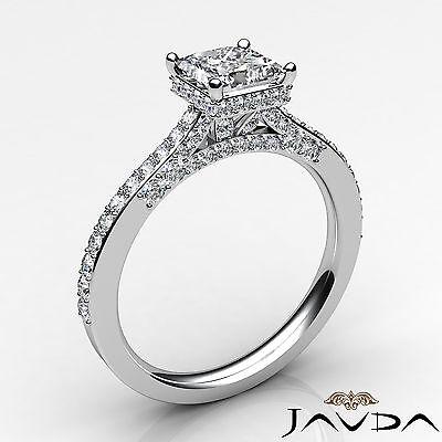 Bridge Accent Circa Halo Princess Diamond Engagement Pave Ring GIA E VS2 1.15Ct 1