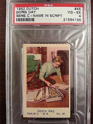 1952 Dutch Gum Card Serie C Name In Script #46 DORIS DAY Rare!! PSA 4 Pop - Gum Names