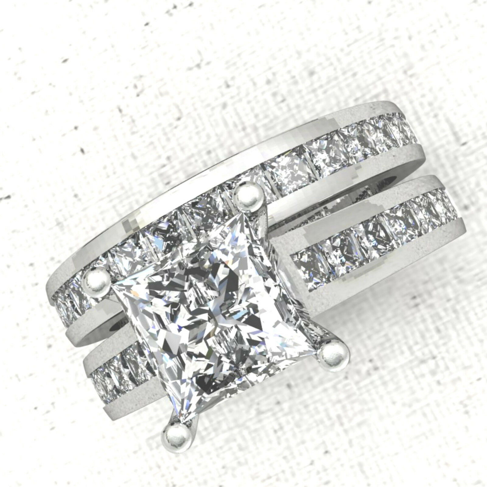 32ct Princess Diamond Channel Engagement Ring Wedding Band Solid 14k White Gold
