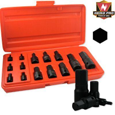 14 Pc Neiko Pro Standard Sae Impact Hex Bit Socket Set 12 14 38 Drive