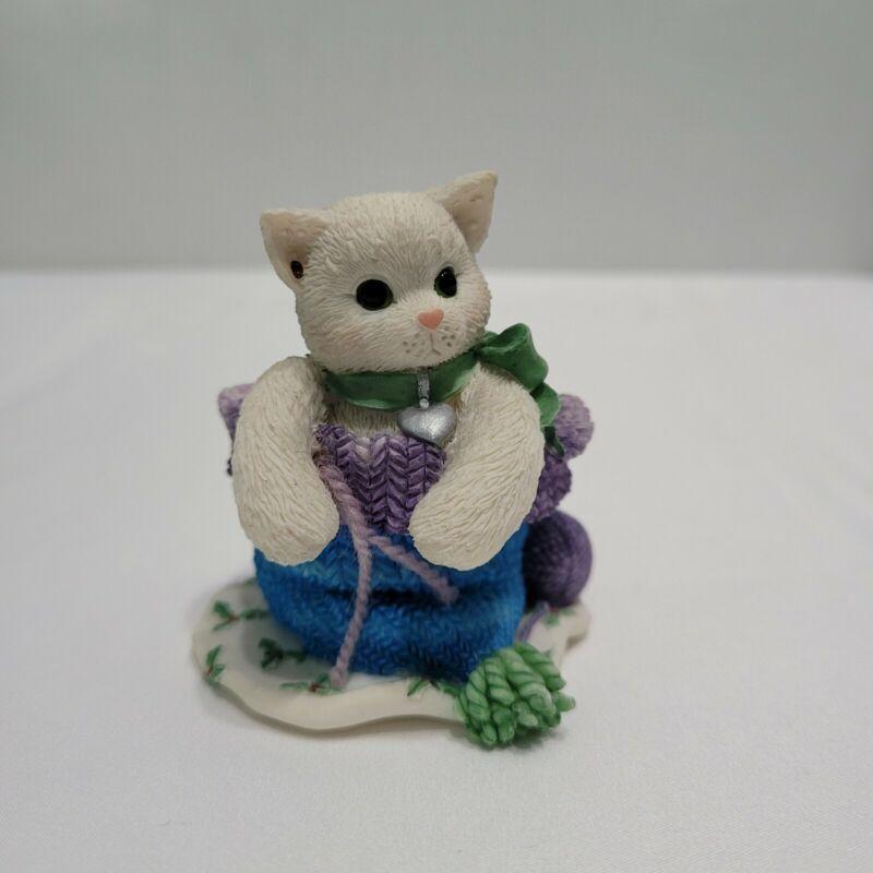 """Enesco Calico Kittens Figurine """"Hats off to friendship"""" 1997 Priscilla Hillman"""