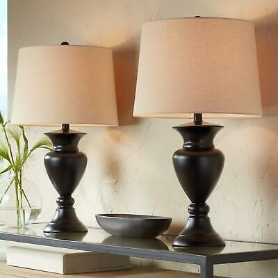 Dark Bronze Urn Ivory Tone Table Lamps Set of 2