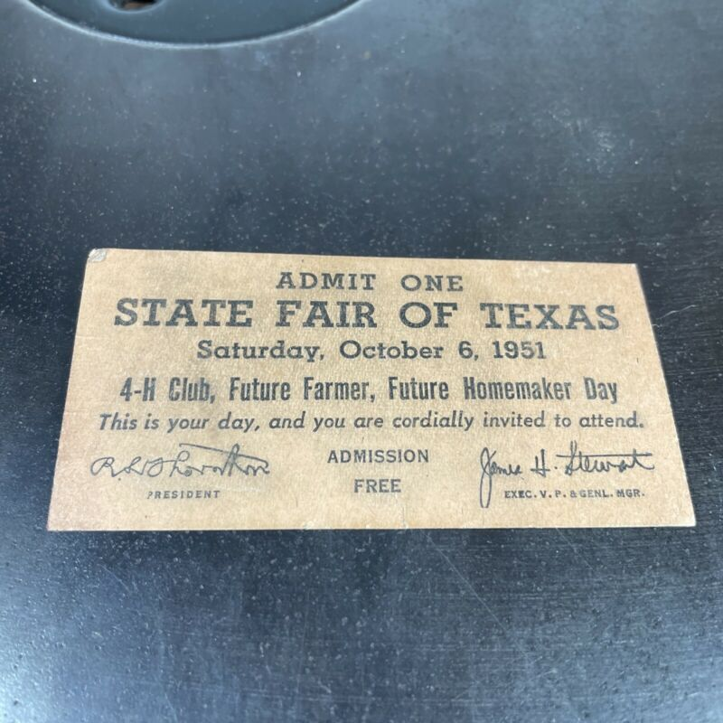Vintage State Fair of Texas 1951 Free Ticket 4-H, FFA Homemaker day