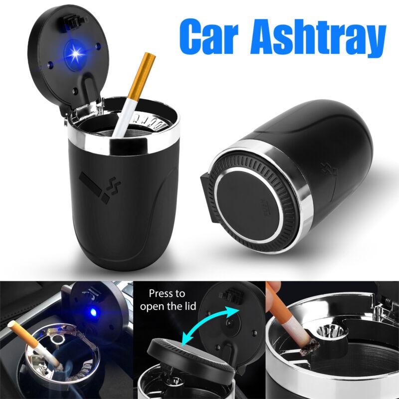 Portable Car Ashtray Cigarette Lighter w/ Blue Led Light for Most Car Cup Holder