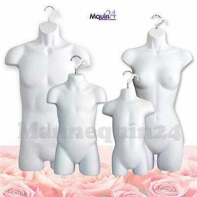 Male Female Child Toddler Torso Mannequin Set - 4 White Hanging Dress Forms