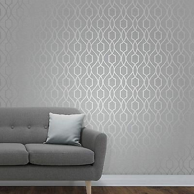 APEX GEOMETRIC TRELLIS WALLPAPER STONE GREY / SILVER - FINE DECOR FD41995