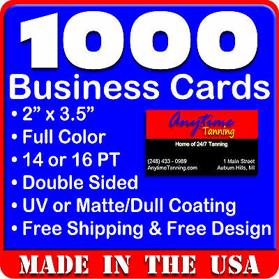 1000 Full Color Double Sided Custom Business Cards - Real Printing Free Shipping