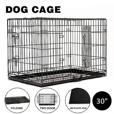 Pet Kennel Cat Dog Cage Folding Crate Animal Playpen Metal Wire Enclosure 30''