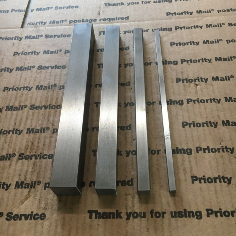 "1/4 1/2 3/4 1"" Square Steel Bar CR 1018 Blacksmith Iron Machining 8"" + L 4 Pcs"