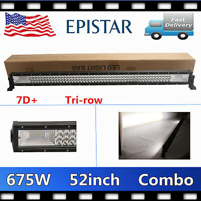 "7D Tri-Row 52"" 675W LED Work Light Bar Combo Fits Jeep Truck SUV Offroad VS 300W"
