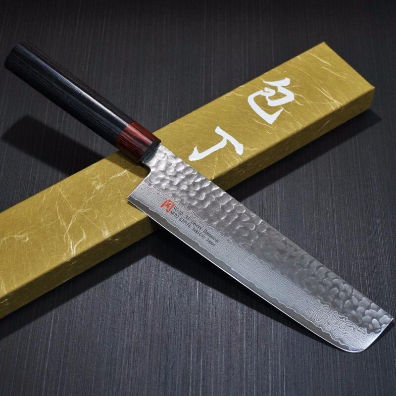 Japanese SETO ISEYA Hammered Damascus VG10 Nakiri Kitchen Knife 180mm Japan I-6