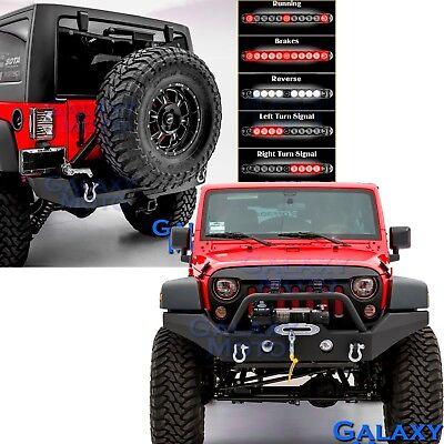 Front+Rear Bumper+3rd Brake LED Light Bar+Tire Carrier for 07-18 Jeep Wrangler