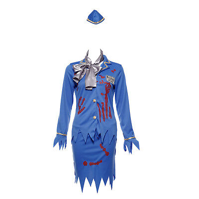 Halloween Zombie Costume Stewdardess Bloodstain Women Scary Walking Fancy  Dress