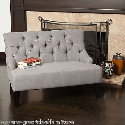 Grey Button Tufted Fabric Settee Loveseat