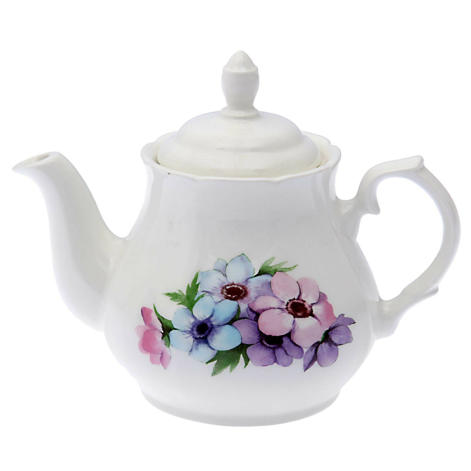 White Brewing Porcelain Teapot with Floral Decal. 33 Fl oz M