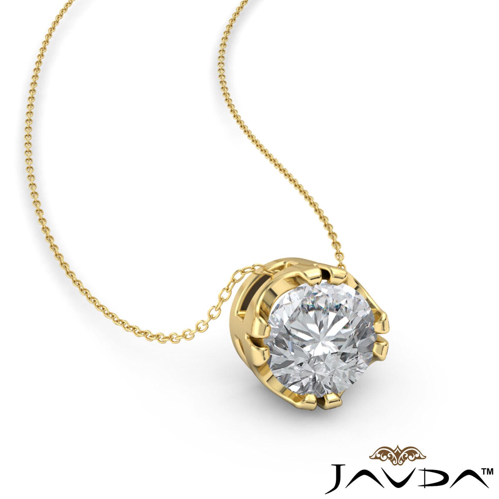 Solitaire Round Shape Diamond Double Prong Pendant 18 Inch Rolo Chain 0.26 ctw. 1