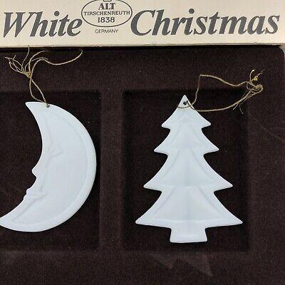 White Christmas German Porcelain Alt Tirschenreuth Ornament Pair Moon Tree ()