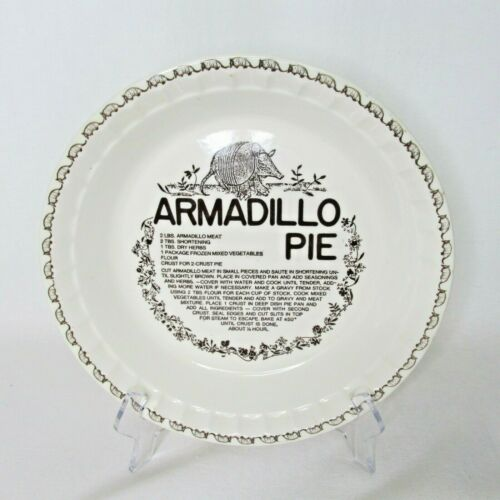 Armadillo Pie 11in Plate Printed Recipe Royal China Co Vintage Texas Collectible
