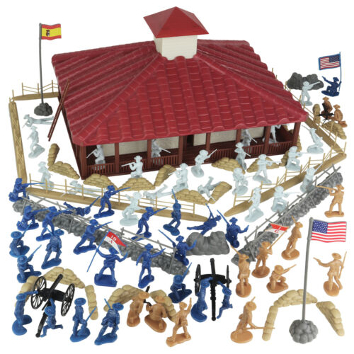 BMC Rough Riders Charge Up San Juan Hill Blockhouse Box Playset 54mm 1:32 Scale
