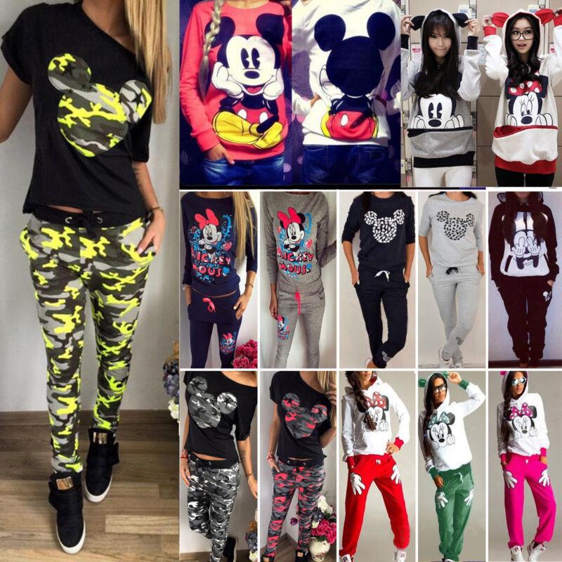 Damen Mickey Mouse Trainingsanzug Kapuzenpullover Sweatshirt Hose Sport Gym Set
