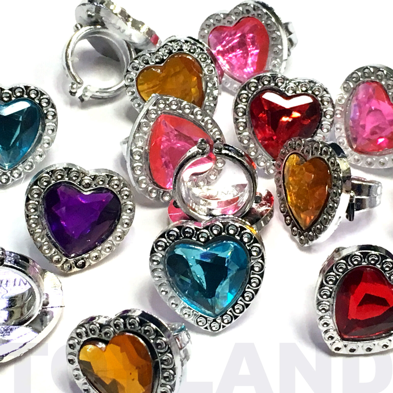 pack of 36 plastic gem rings assorted colours princess