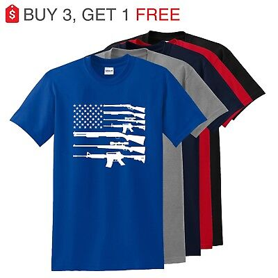 American Flag Guns Patriotic USA Pride Gun Rights NRA Pro-gun T-Shirt  TO 5X - Flag Patriotic Usa T-shirt