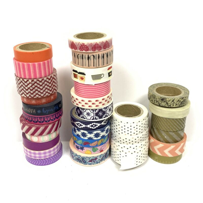 Lot of 30 Preowned Washi Tape Various designs