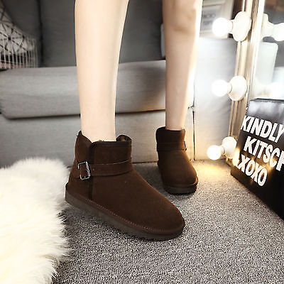 Classic Short Brown Woman Winter Snow Boots Flat Ankle Best Christmas Gift 4