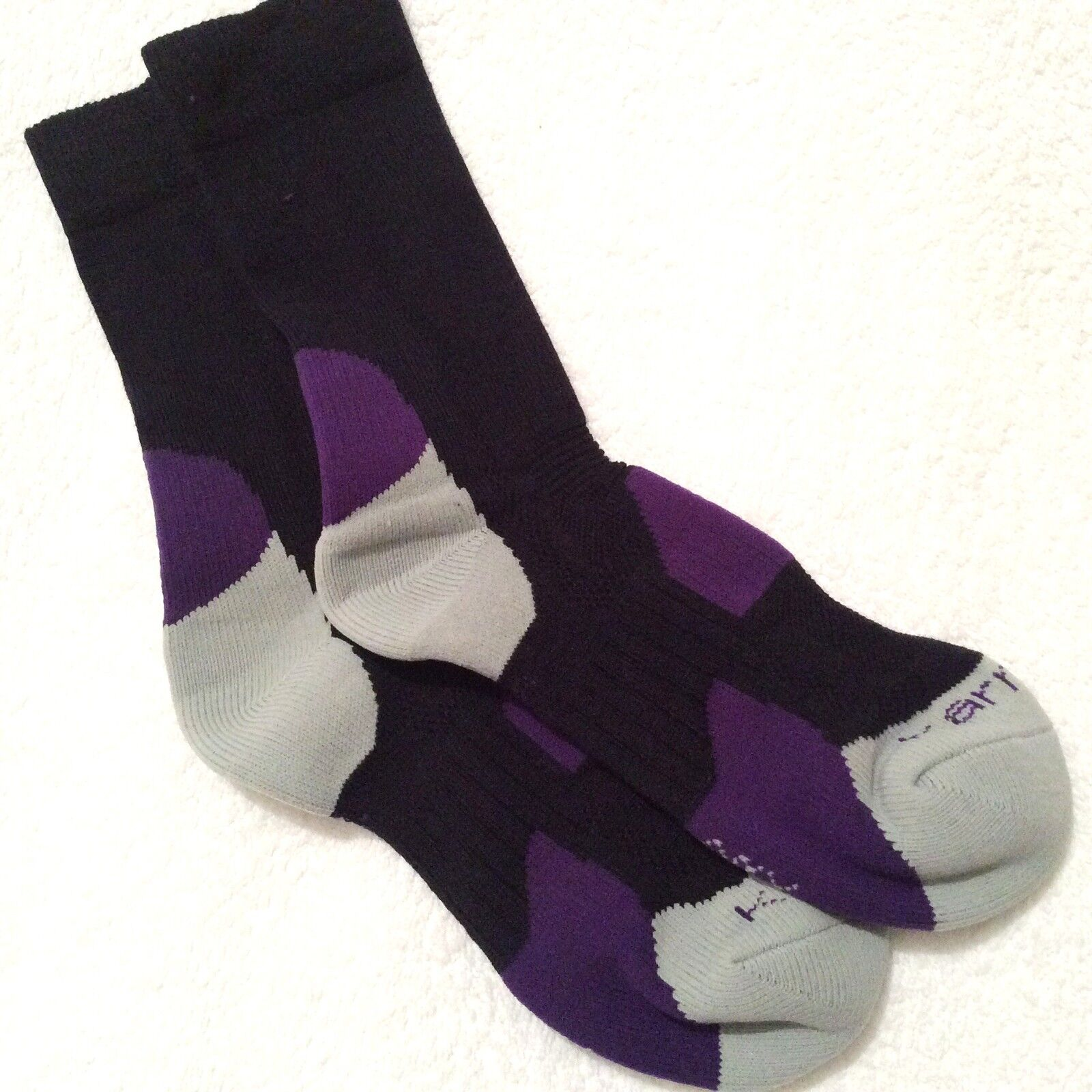 LADIES HI QUALITY LONG CAMPRI NAVY LILAC MERINO WOOL BLEND BREATHABLE SKI SOCKS