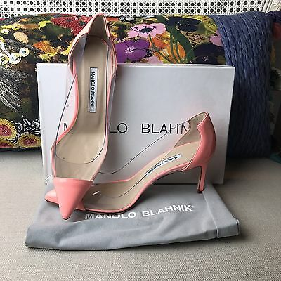 NEW Manolo Blahnik Peach Patent Leather Pacha Clear PVC Pump Shoe Sz 7 37
