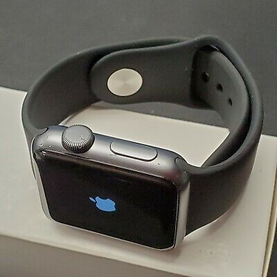 Apple Watch Series 1 38mm Smartwatch Space Gray with Case Black Band #107**