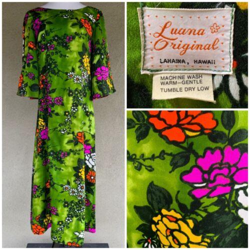 """Luana"" Vintage Hawaiian Barkcloth Muumuu Dress Gorgeous size M"