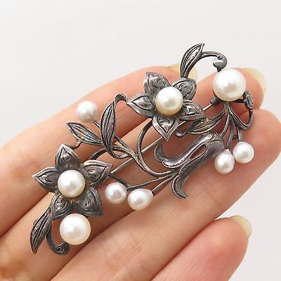 Antq 925 Sterling Silver Real Pearl Floral Handmade Pin Brooch