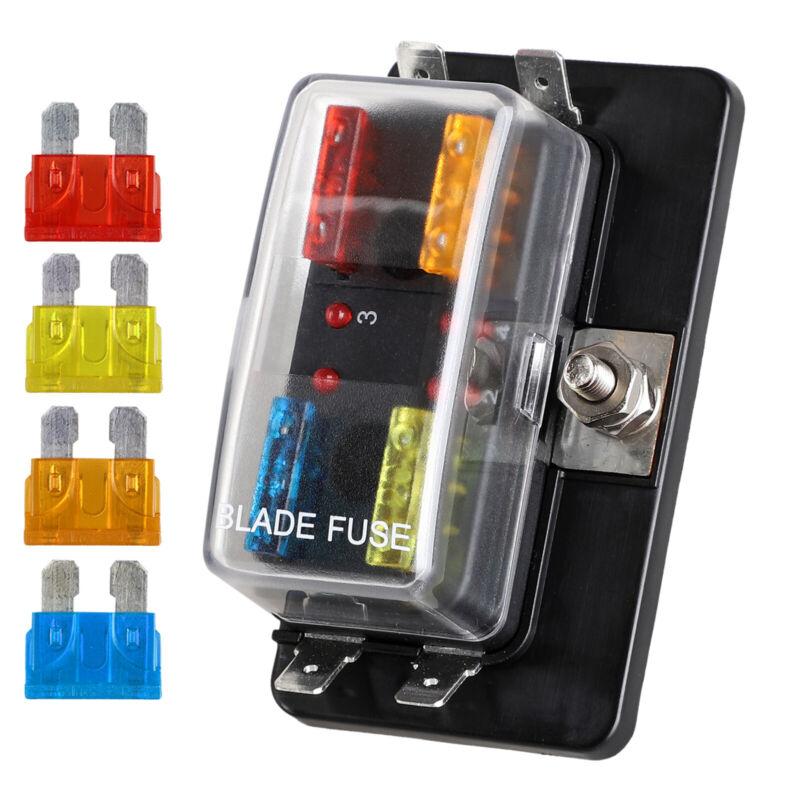 12V/24V Auto Car Power Distribution Blade Fuse Holder Box Block Panel Board 4Way
