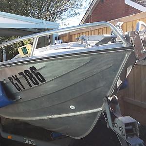4.18 mt. Savage Aluminium Boat c/w  motor & trailer. Highett Bayside Area Preview