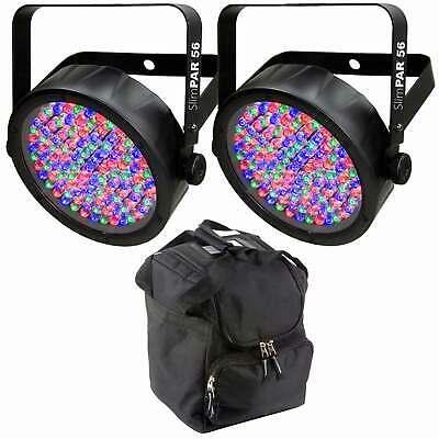 Chauvet SlimPAR 56 LED Flat Par Wall Wash Light Pair + Protective Transport Case