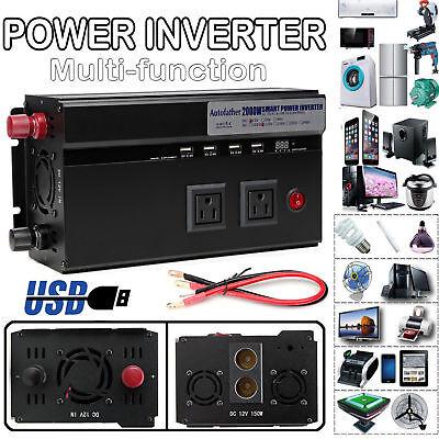 2000W/4000W Car Power Inverter Converter DC 12V To AC 110V/120V USB Charger USA