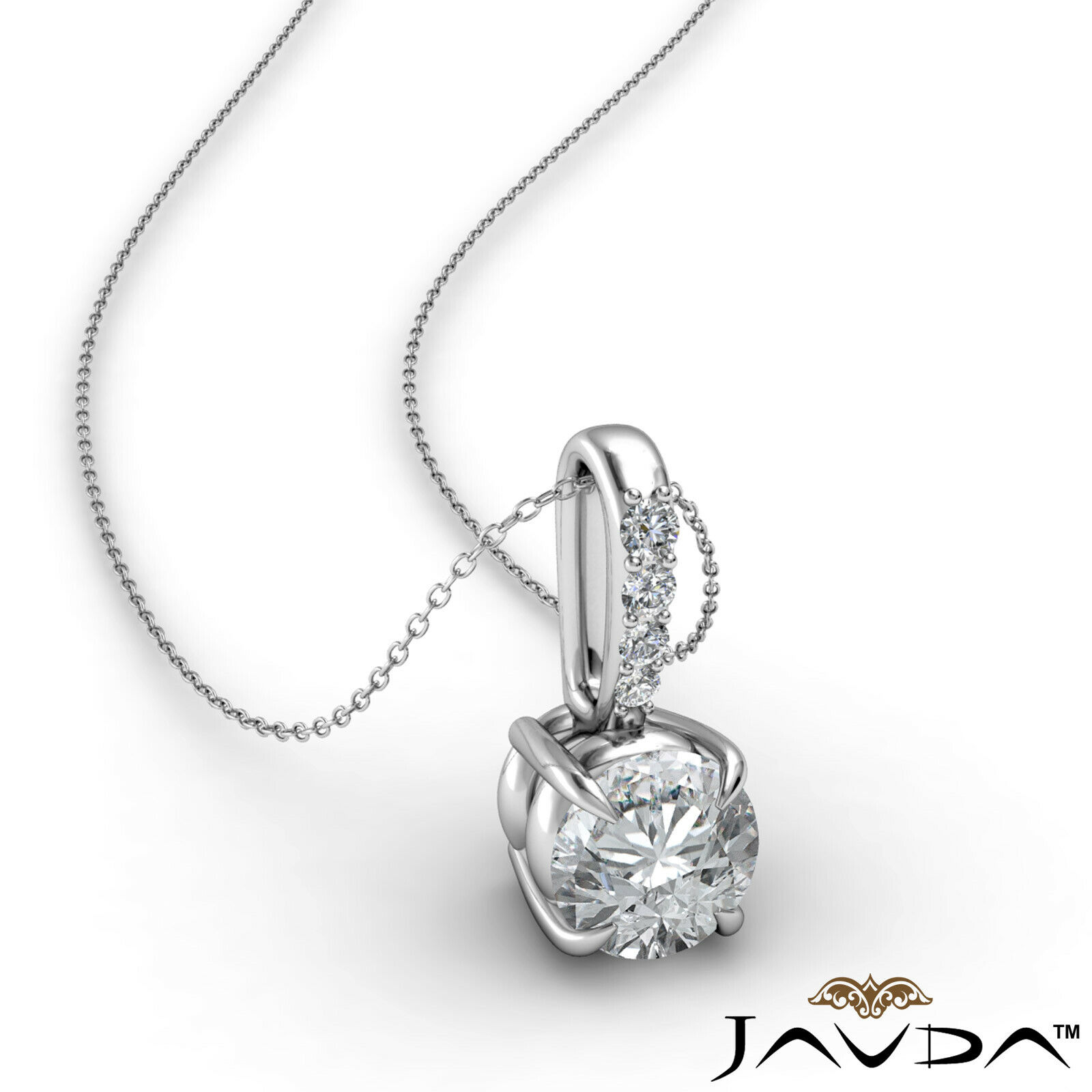 Round Cut Natural Diamond Claw Prong Solitaire Bail Pendant Necklace 1/4 ctw.