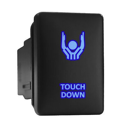 Touch Down Blue Led Backlit Switch Short Push Button 1.28x 0.87 Fit Toyota