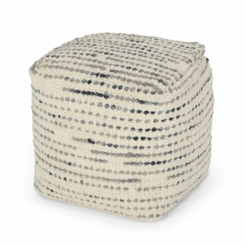 Eakly Handcrafted Boho Fabric Cube Pouf Furniture