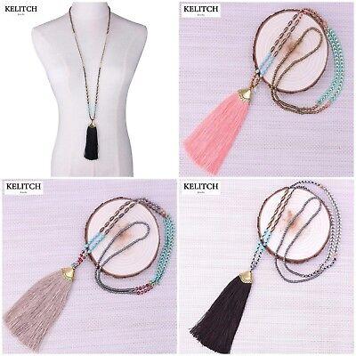 KELITCH Bohemian Handmade Chain Crystal Created Chrysocolla Beads Long Necklace Chrysocolla Long Necklace