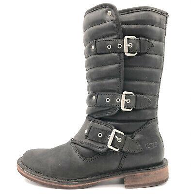 Ugg Tatum Black Leather Buckle Moto Riding Boots Women's 5