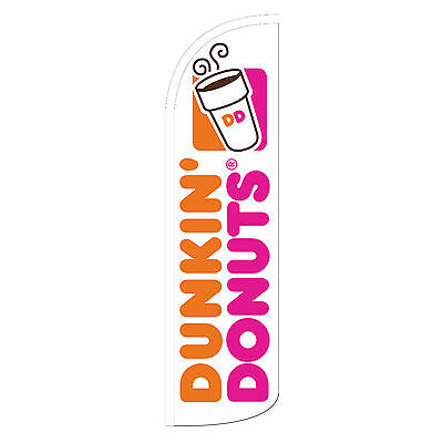 Dunkin Donuts Banner Flag Sign Windless Swooper Feather Tall 3 Wide Org Pink