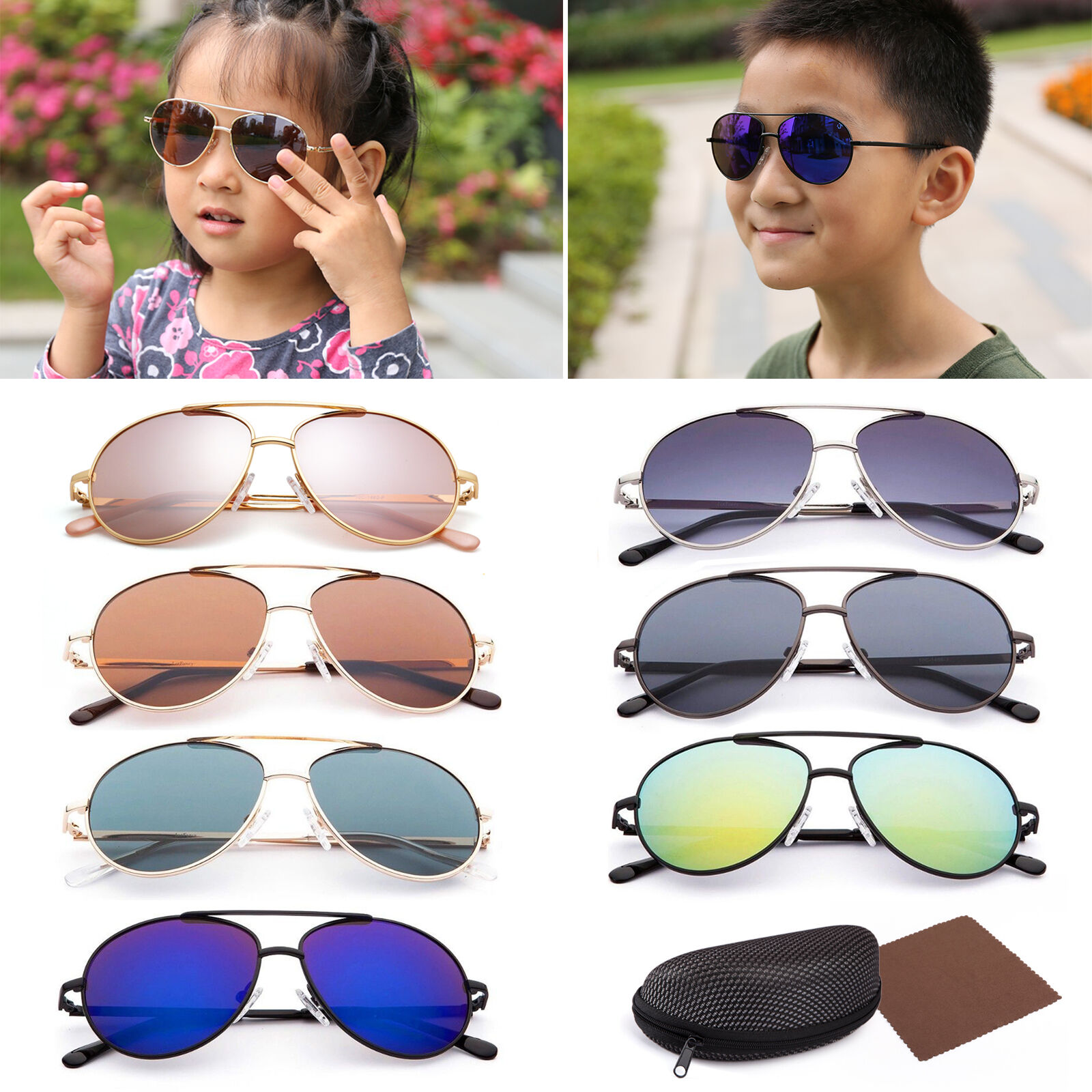 Vintage Aviator Sunglasses For Boys Girls Kids Child Toddler