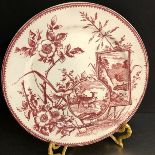 Aesthetic Movement Antique Dinner Plate Red Deer Waterfall Floral Victorian Rare